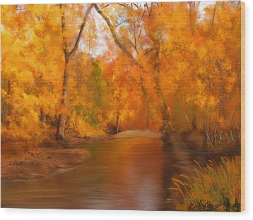 New England Autumn In The Woods Wood Print