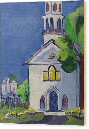 New England Church Wood Print by Betty Pieper