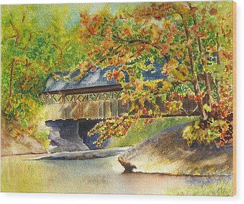 New England  Covered Bridge Wood Print by Karen Fleschler