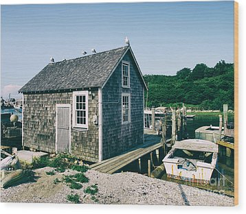 New England Fishing Cabin Wood Print by Mark Miller