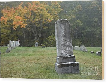 New England Graveyard During The Autumn  Wood Print by Erin Paul Donovan