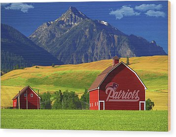 Wood Print featuring the photograph New England Patriots Barn by Movie Poster Prints