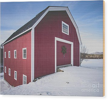 New England Red Barn Winter Orford Wood Print by Edward Fielding