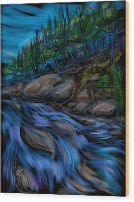 New England Stream Wood Print by Russell Pierce