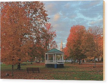 New England Town Common Autumn Morning Wood Print by John Burk