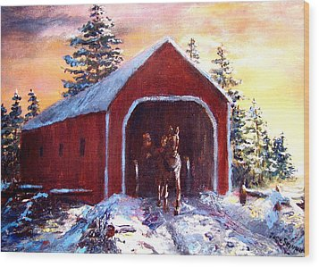 Wood Print featuring the painting New England Winter Crossing by Jack Skinner