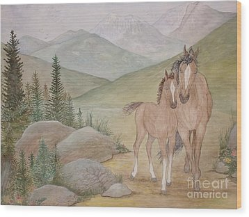 New Foal In The Foothills Wood Print