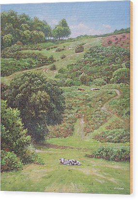Wood Print featuring the painting New Forest Hill With Cows And Horses by Martin Davey