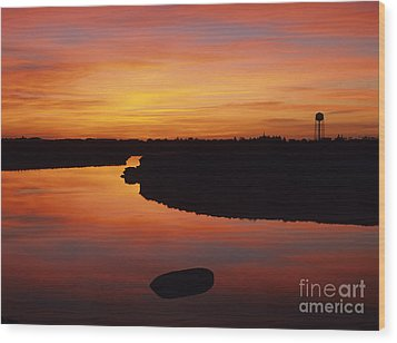 New Hampshire Salt Marsh At Sunrise Wood Print by Erin Paul Donovan