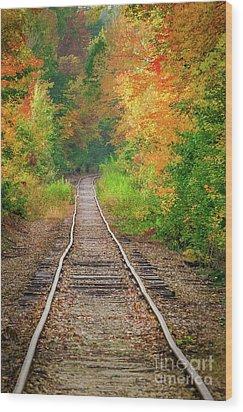New Hampshire Train Tracks To Foliage Wood Print