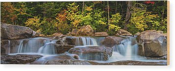 New Hampshire White Mountains Swift River Waterfall In Autumn With Fall Foliage Wood Print