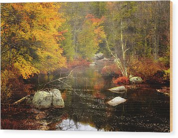 New Hampshire Wilderness-autumn Scenic Wood Print by Thomas Schoeller