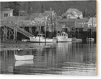 Wood Print featuring the photograph New Harbor Docks by Olivier Le Queinec