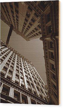New Heights - Wrigley Building - Chicago Wood Print by Dmitriy Margolin