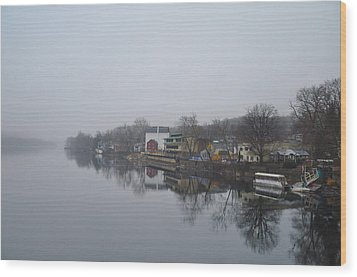 New Hope River View On A Misty Day Wood Print by Bill Cannon