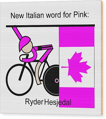New Italian Word For Pink Wood Print by Asbjorn Lonvig