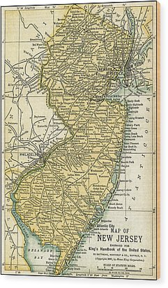 New Jersey Antique Map 1891 Wood Print