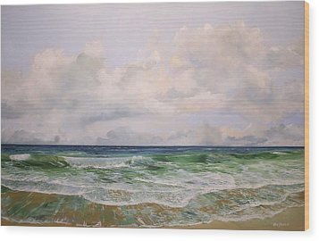 Wood Print featuring the painting New Jersey Surf by Ken Ahlering