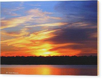 New Longview Sunset Wood Print