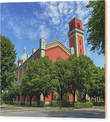 New Lutheran Church In Kezmarok, Slovakia Wood Print by Elenarts - Elena Duvernay photo