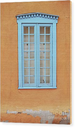 Wood Print featuring the photograph New Mexico Blue Window by Andrea Hazel Ihlefeld