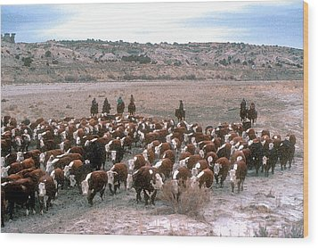 New Mexico Cattle Drive Wood Print by Jerry McElroy