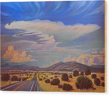 Wood Print featuring the painting New Mexico Cloud Patterns by Art James West