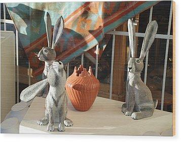 New Mexico Rabbits Wood Print by Rob Hans