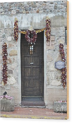 Wood Print featuring the photograph New Mexico Red Chili Ristras Door by Andrea Hazel Ihlefeld