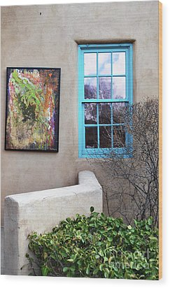 Wood Print featuring the photograph New Mexico Turquoise Window Landscape by Andrea Hazel Ihlefeld
