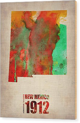New Mexico Watercolor Map Wood Print by Naxart Studio