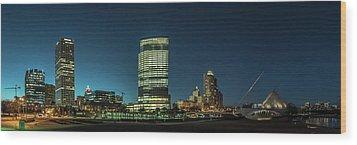 New Milwaukee Skyline Wood Print by Randy Scherkenbach
