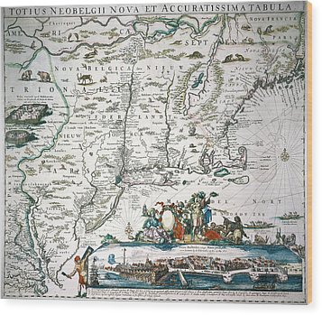 New Netherland Map Wood Print by Granger