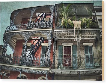 New Orleans Balconies No. 4 Wood Print by Tammy Wetzel