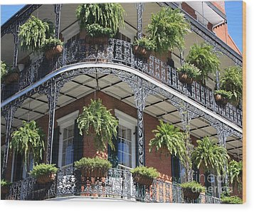 New Orleans Balcony Wood Print by Carol Groenen
