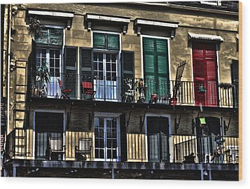 New Orleans Balcony Wood Print