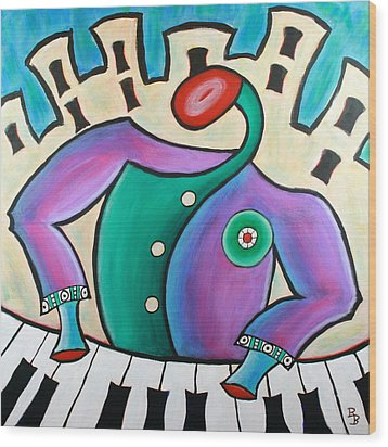 Wood Print featuring the painting New Orleans Cool Jazz Piano by Bob Baker