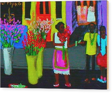 Wood Print featuring the painting New Orleans Lady Selling Flowers by Angela Annas