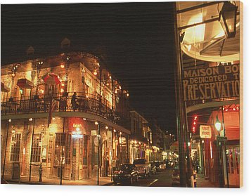 New Orleans Jazz Night Wood Print by Art America Gallery Peter Potter