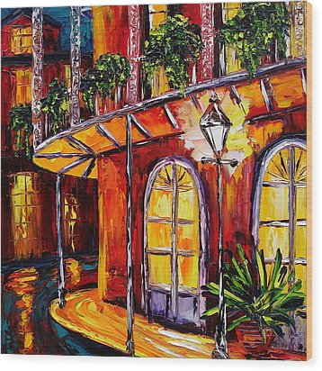 New Orleans Original Oil Painting French Quarter Glow Wood Print by Beata Sasik