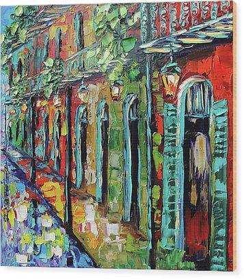 New Orleans Painting - Glowing Lanterns Wood Print by Beata Sasik
