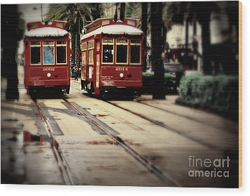 New Orleans Red Streetcars Wood Print by Perry Webster