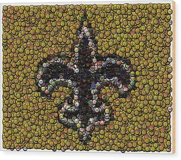 New Orleans Saints  Bottle Cap Mosaic Wood Print by Paul Van Scott