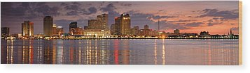 New Orleans Skyline At Dusk Wood Print by Jon Holiday