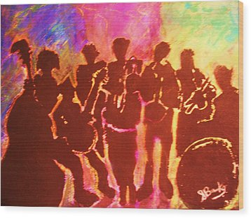 New Orleans Street Band At Sunset Wood Print by Samuel Banks