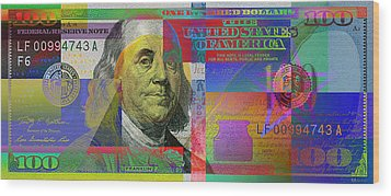 New Pop-colorized One Hundred Us Dollar Bill Wood Print by Serge Averbukh