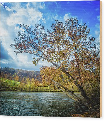New River In Fall Wood Print