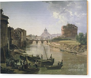New Rome With The Castel Sant Angelo Wood Print by Silvestr Fedosievich Shchedrin