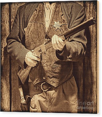 New Sheriff In Town Wood Print by American West Legend By Olivier Le Queinec