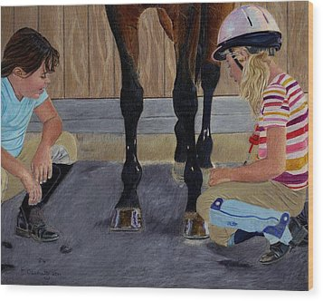New Shoe Review Horse And Children Painting Wood Print by Patricia Barmatz